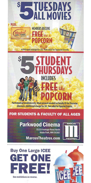Coupon for Parkwood Cinema in Waite Park, MN