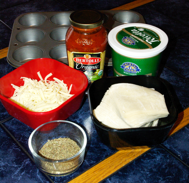 Ingredients in Lasagna cup recipe for kids