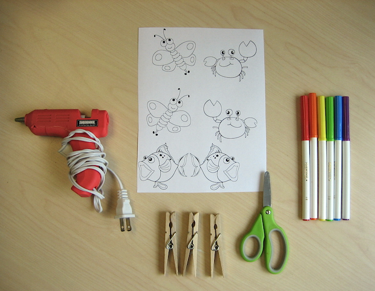 Materials for clothespin puppet craft project